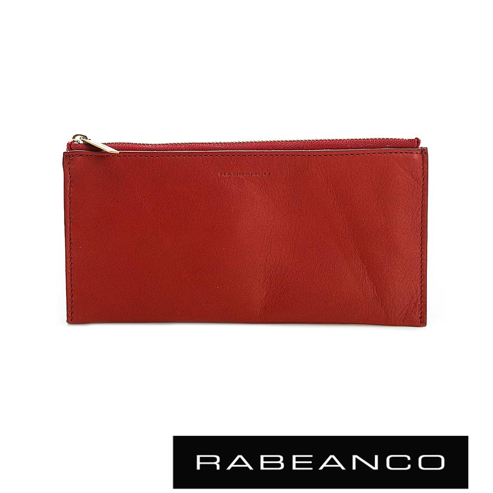 RABEANCO 迷時尚牛皮系列雙面卡層拉鍊長夾 紅