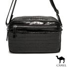 CAMEL - 奢華品味牛皮鱷魚紋雅痞兩用側背包