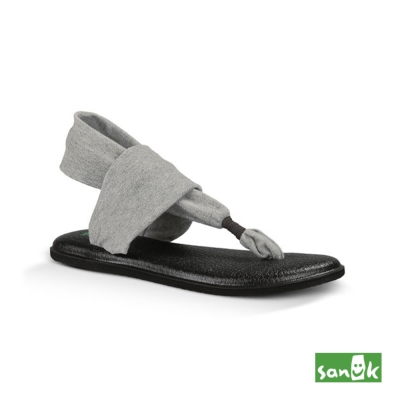 SANUK 素面綁帶人字涼鞋-女款(灰色)