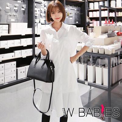正韓-襯衫式荷葉魚尾裙洋裝-白色-W-BABIES