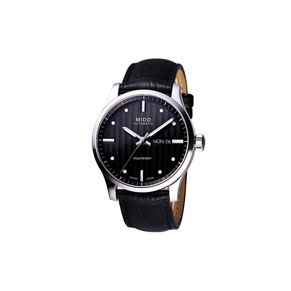MIDO Multifort 系列經典皮帶腕錶-黑/42mm M0054301603181