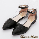 River&Moon優雅OL-MIT編織尖頭扣帶平底鞋-黑