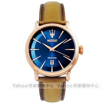 MASERATI 瑪莎拉蒂EPOCA紀元質感簡約真皮手錶-藍X玫瑰金/42mm