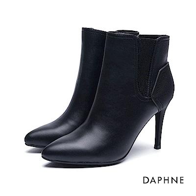 達芙妮DAPHNE 短靴-拼接造型刻紋細高跟踝靴-黑