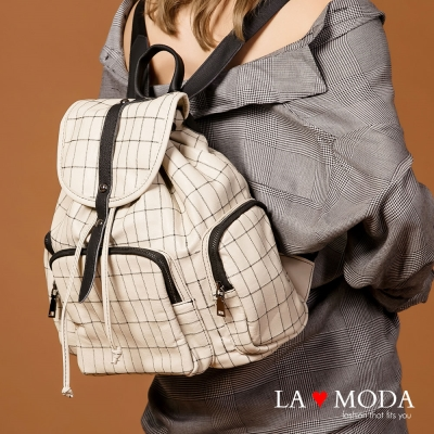 La Moda 注目焦點 特色格紋設計大容量後背包(白)
