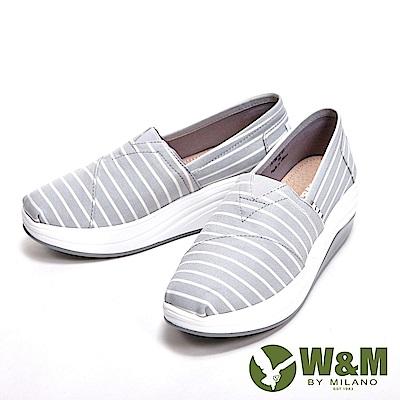 W&M BOUNCE系列 超彈力條紋增高鞋 女鞋-灰(另有淺粉)