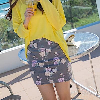 優雅花朵拉鍊式棉感窄裙.2色-OB大尺碼