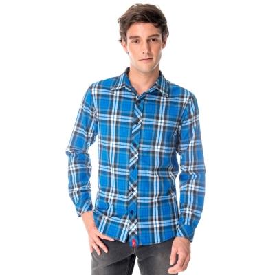 【hilltop山頂鳥】男款長袖格子保暖襯衫C05M16藍