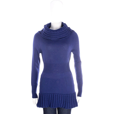 PULLAROUND 深藍色拼接織紋高領針織羊毛上衣(100%WOOL)