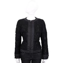 BOSIDENG 黑色蕾絲拼接長袖鋪棉外套