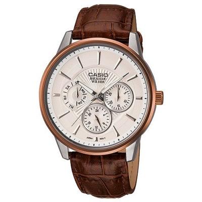 CASIO BESIDE 時尚都會三眼型男腕錶(白)_BEM-302L-7A/43mm
