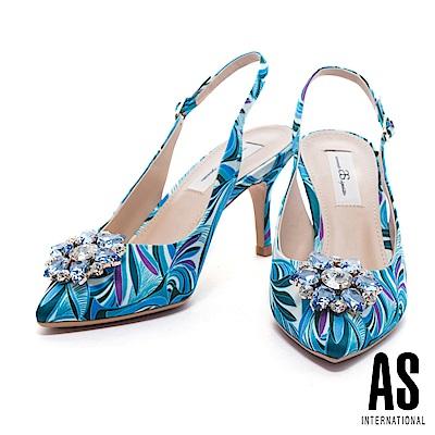 高跟鞋 AS 夏日美艷鑽飾設計印花布後繫帶高跟鞋-藍