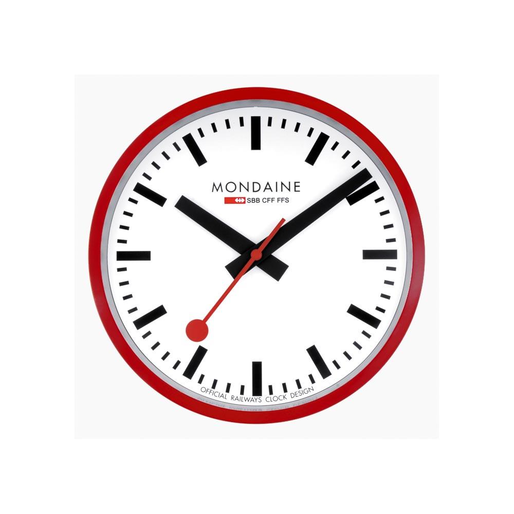 MONDAINE 瑞士國鐵 25公分經典掛鐘-紅框