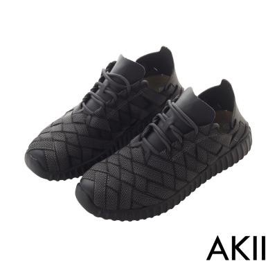 AKII韓國空運-超輕量微增高3.5CM晴雨兩用懶人休閒鞋-酷炫黑-情侶款