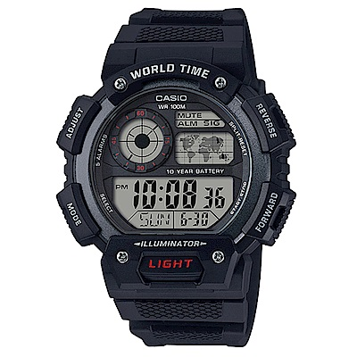 CASIO 世界之城10年電力數位電子錶(AE-1400WH-1A)-黑框/48.4mm