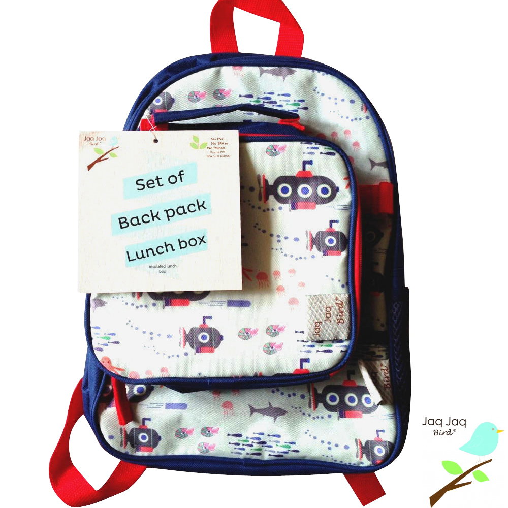 Jaq Jaq Bird 美國小朋友二合一包包組合-午餐袋+書包 (小潛水艇)