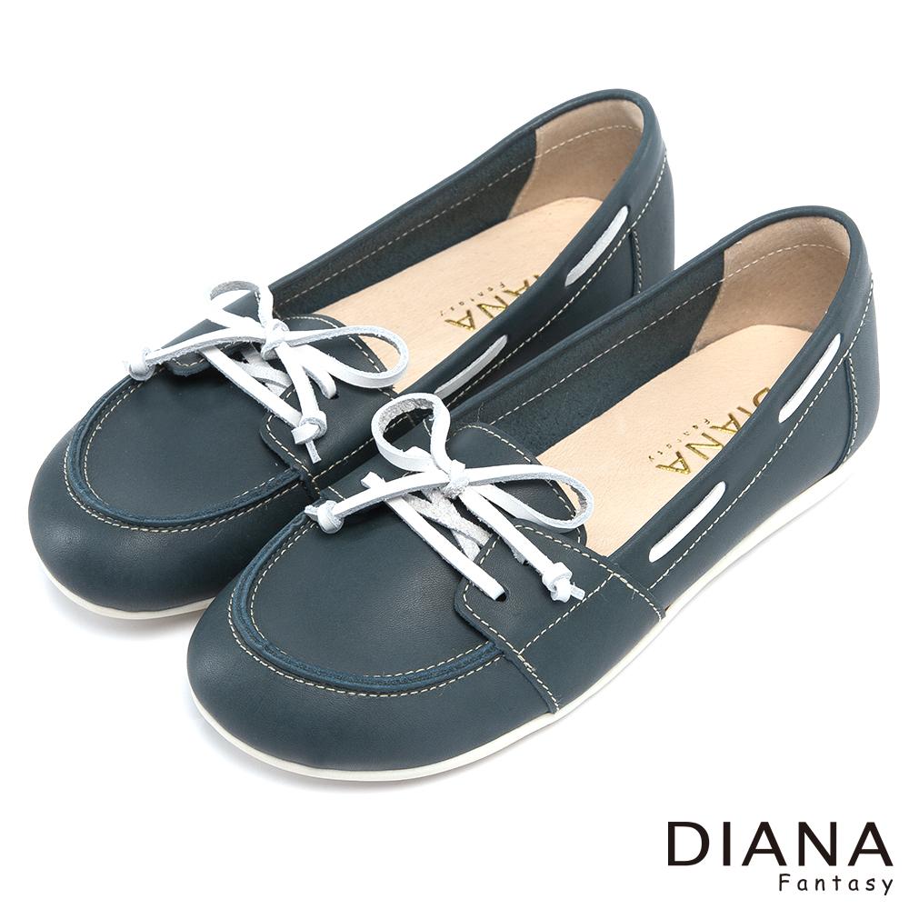 DIANA 經典復刻--穿線鞋帶舒適真皮平底鞋-藍