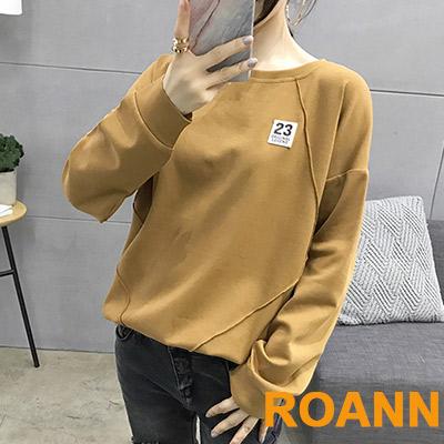 純色圓領貼布長袖衛衣 (共二色)-ROANN