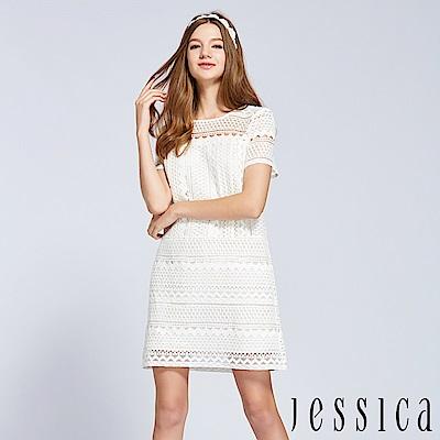 JESSICA - 柔美蕾絲幾何條紋洋裝(白)