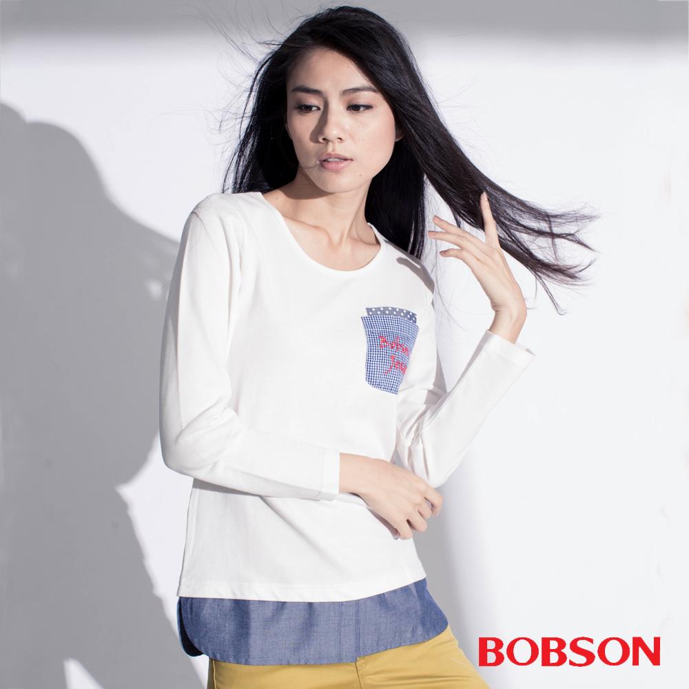 BOBSON  女款仿兩件式上衣-白色