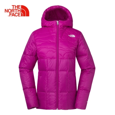 The North Face北面女款玫紅色鵝絨保暖羽絨外套