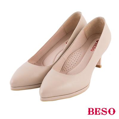 BESO 簡約知性 素面尖頭全真皮跟鞋~卡其