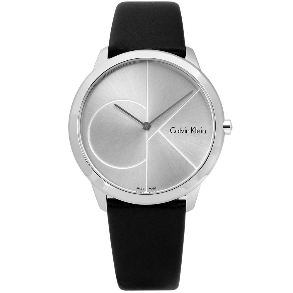 CK真愛時刻經典簡約皮革手錶銀x黑40mm