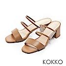 KOKKO-性感透膚環帶方頭粗跟涼拖鞋-大地棕