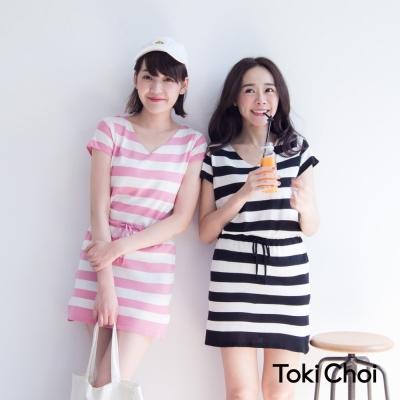 東京著衣 V領腰抽繩條紋針織洋裝-S.M(共四色)