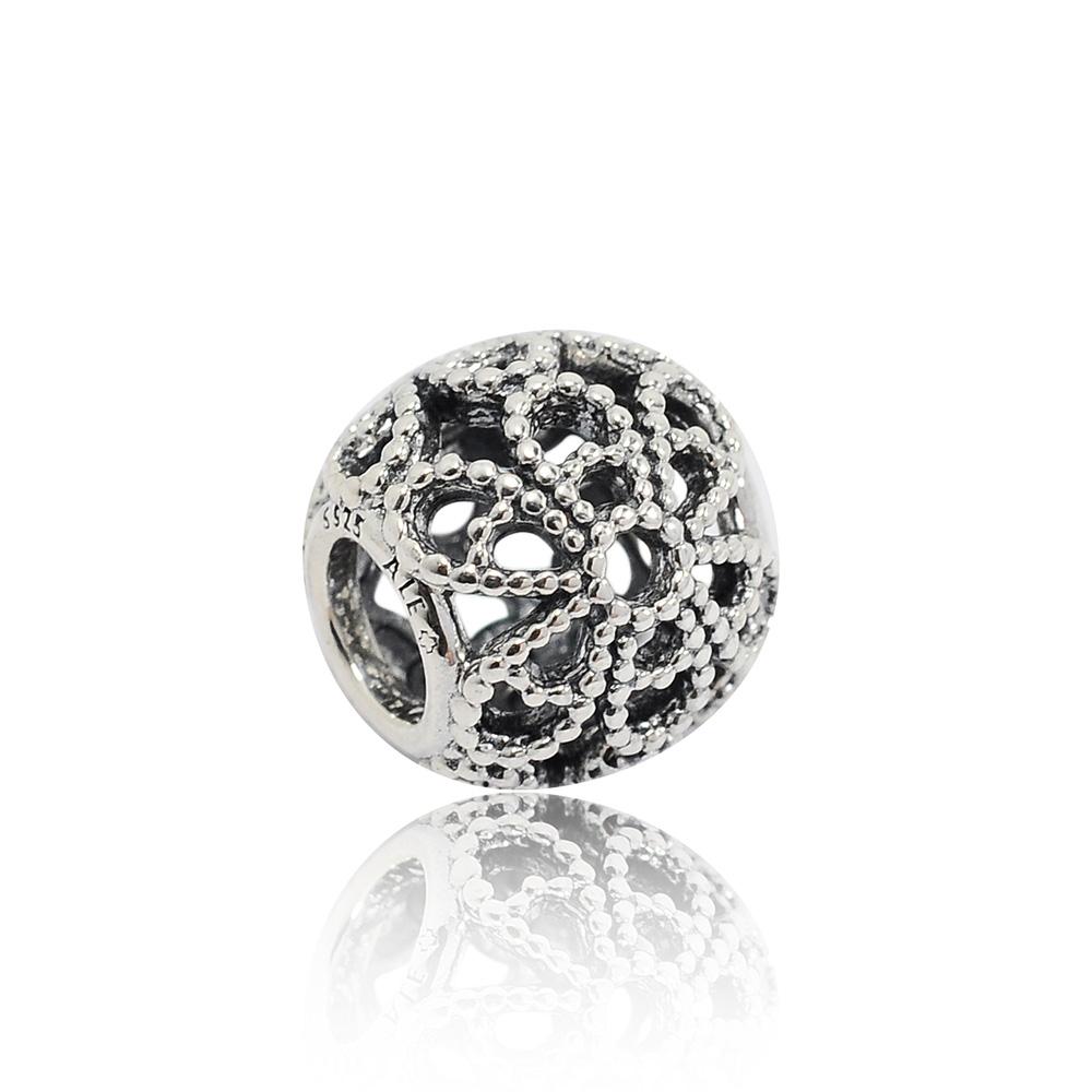 Pandora 潘朵拉 閃耀鏤空玫瑰圖案 純銀墜飾 串珠
