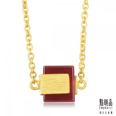 點睛品Emphasis 黃金項鍊- g* collection -方形紅瑪瑙