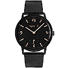 agnes b. 法式簡約米藍帶手錶(BN4009X1)-黑X玫瑰金/37mm