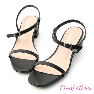 D+AF 氣質首選.一字斜細帶方頭低跟涼鞋*黑