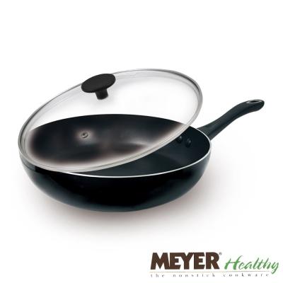 MEYER美國美亞健康不沾導磁單柄煎鍋28CM+玻璃蓋