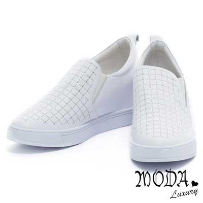休閒鞋-MODA-Luxury-個性潮流閃耀水鑽牛皮內增高休閒便鞋-白