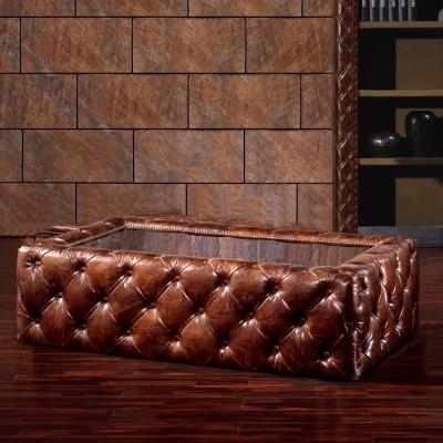 MUSE_lio里歐復古鏡面鋼拉扣牛皮茶几桌