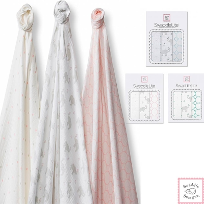 Swaddle Designs 薄棉羅紗多用途嬰兒包巾三入禮盒- 大象點點