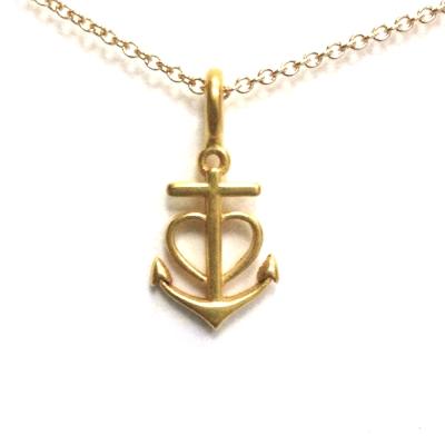 Dogeared 船錨鑲愛心 anchor heart 一帆風順 金色許願項鍊 附原廠盒