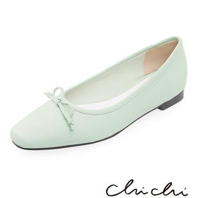 Chichi 韓國直送-優雅蝴蝶結小方頭娃娃鞋*粉綠
