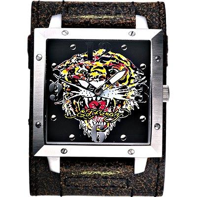 【Ed Hardy 】猛虎吼刺青寬版仿舊皮帶錶