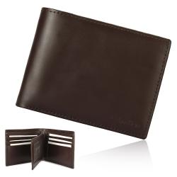Calvin Klein 壓印LOGO證件短夾鑰匙圈禮盒-咖啡色