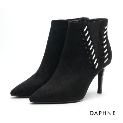 達芙妮DAPHNE 踝靴-撞色細繩編織高跟尖頭踝靴-黑