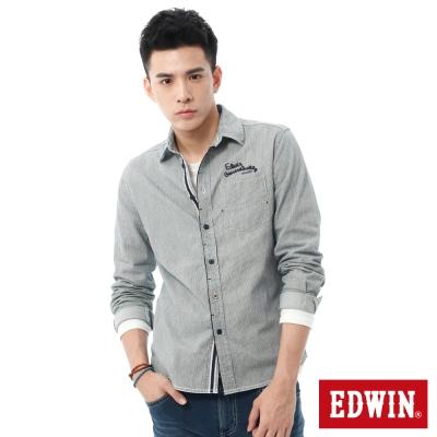 EDWIN 靛染直條長袖襯衫-男-丈青