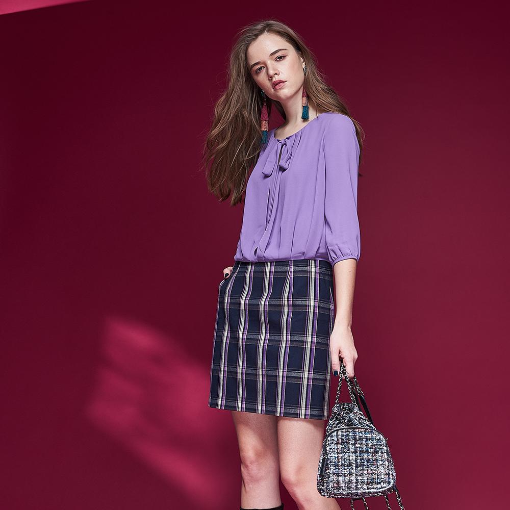 Chaber巧帛 英式格紋氣質領巾假兩件拼接造型洋裝-紫