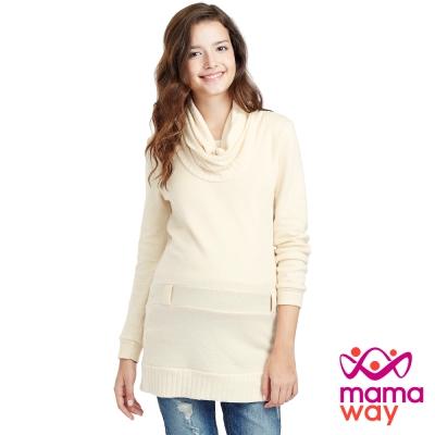 Mamaway 落領毛衣造型長版孕婦裝.哺乳衣(共二色)