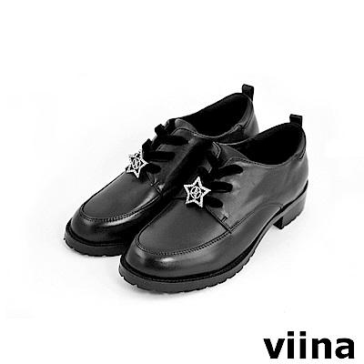 viina 休閒系列-牛皮星星飾扣休閒鞋
