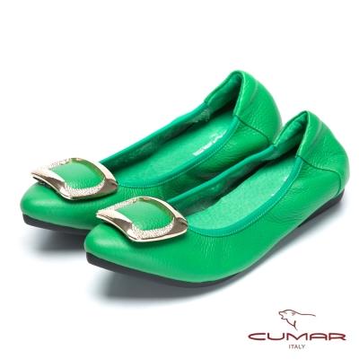 CUMAR舒適真皮 水鑽金屬裝飾平底包鞋-綠色