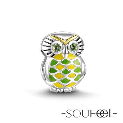 SOUFEEL索菲爾 925純銀珠飾 慧眼貓頭鷹 串珠