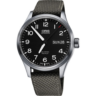 ORIS Big Crown ProPilot GMT小秒針飛行錶~黑x軍綠 45mm
