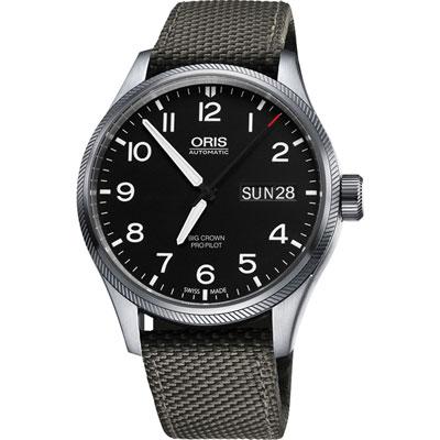 ORIS Big Crown ProPilot GMT小秒針飛行錶-黑x軍綠/45mm